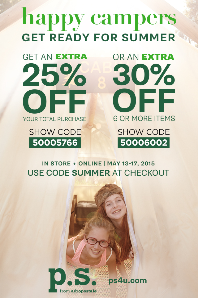 Aeropostale Coupon March 2017 25-30% off at P.S. from Aeropostale, or online via promo code SUMMER