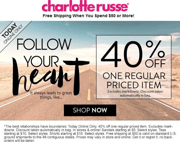 Charlotte Russe Coupon April 2018 40% off a single item online today at Charlotte Russe