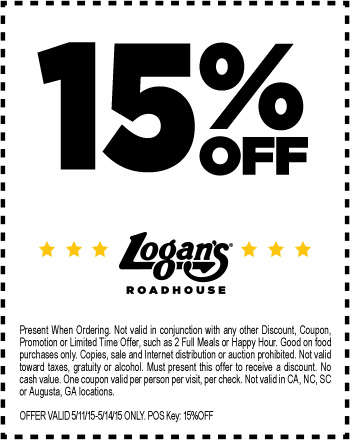 Logans Roadhouse Coupon March 2019 15% off at Logans Roadhouse restaurants