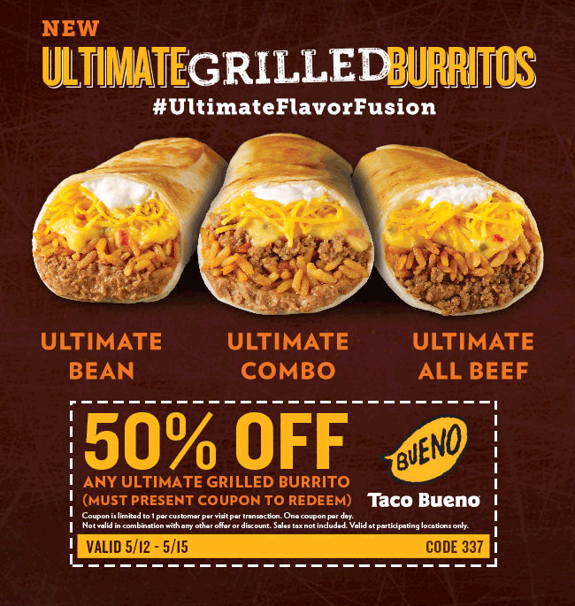 Taco Bueno Coupon June 2017 50% off grilled burritos at Taco Bueno