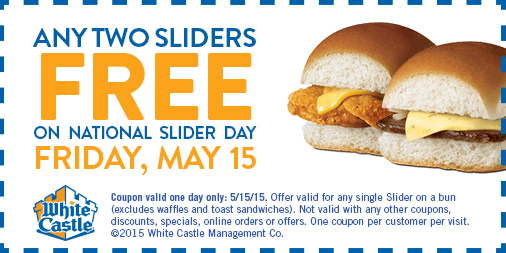 White Castle Coupon July 2018 Two free sliders Friday at White Castle
