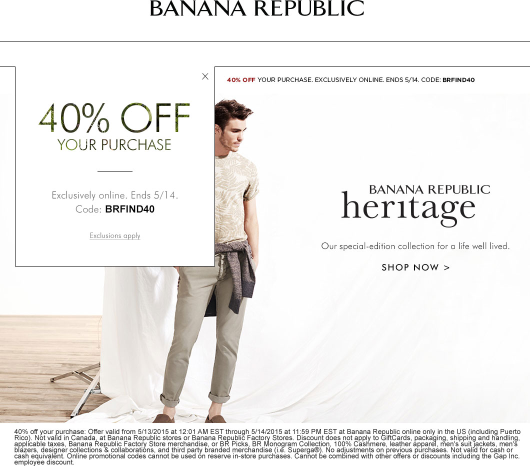 Banana Republic Coupon March 2018 40% off online today at Banana Republic via promo code BRFIND40