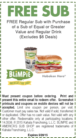 Blimpie Coupon October 2016 Second sub free with your drink at Blimpie