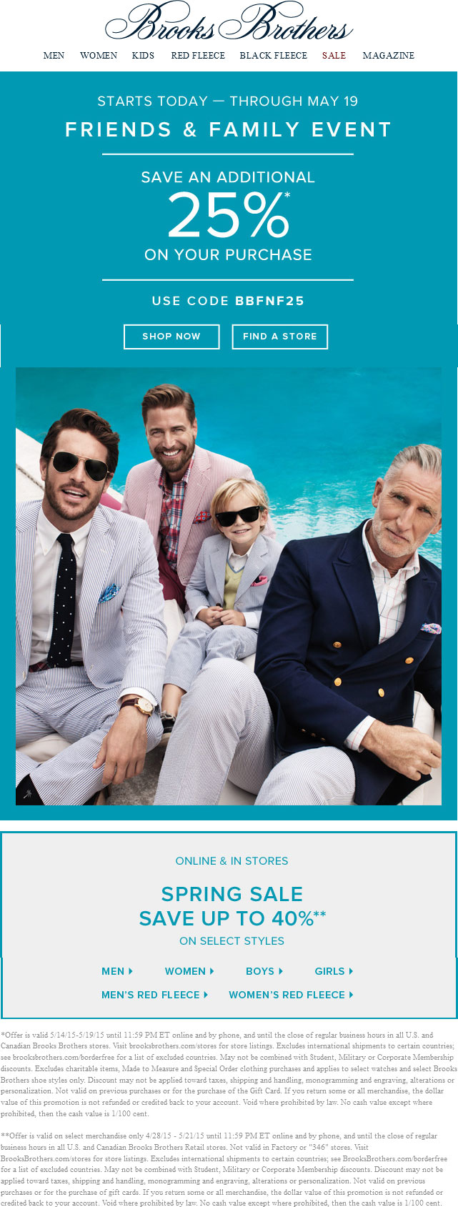 Brooks Brothers Coupon July 2017 25% off at Brooks Brothers, or online via promo code BBFNF25
