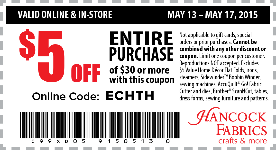 Hancock Fabrics Coupon April 2019 $5 off $30 at Hancock Fabrics, or online via promo code ECHTH