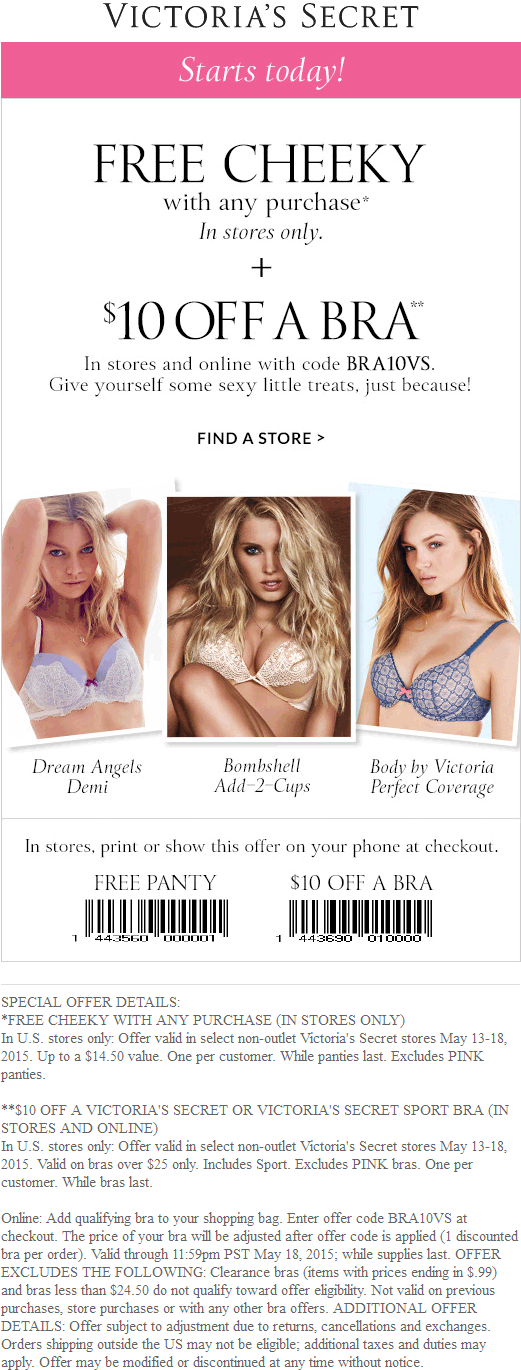 Victorias Secret Coupon April 2019 Free $15 panties with any purchase + $10 off sports bra at Victorias Secret, or online via promo code  BRA10VS
