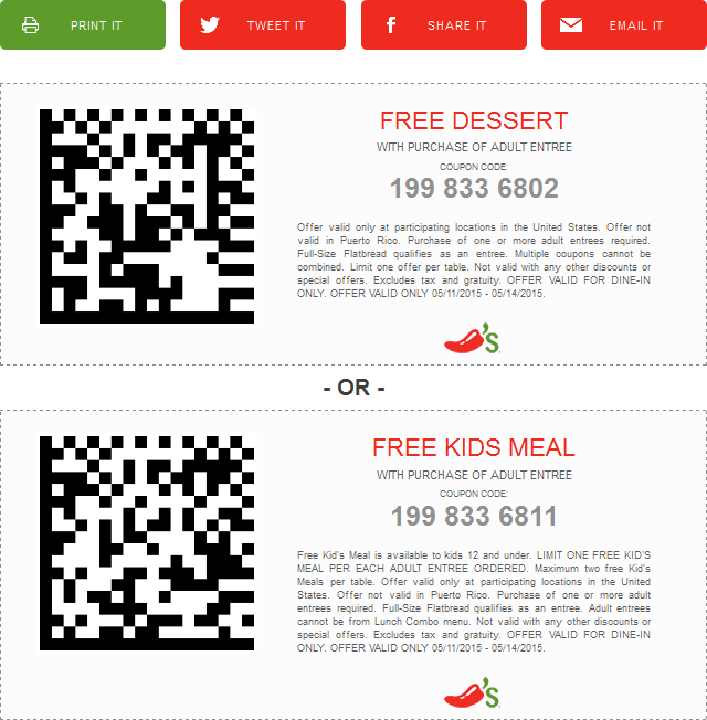 Chilis Coupon November 2017 Free dessert or kids meal with your entree at Chilis