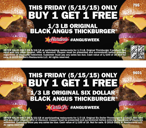 Hardees Coupon July 2018 Second burger free today at Carls Jr. & Hardees restaurants