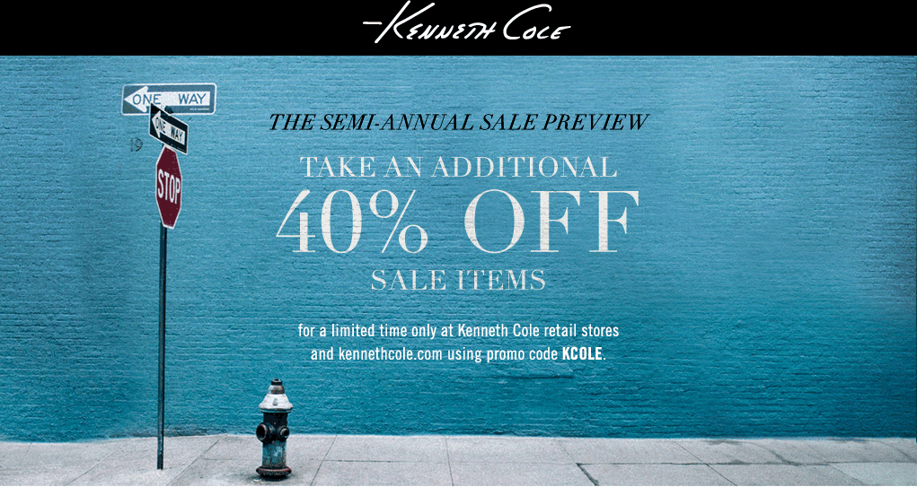 Kenneth Cole Coupon January 2017 Extra 40% off sale items at Kenneth Cole, or online via promo code KCOLE