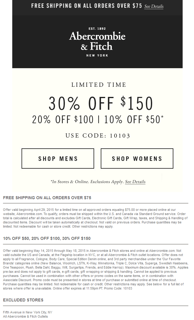 Abercrombie & Fitch Coupon March 2018 10-30% off at Abercrombie & Fitch, or online via promo code 10103