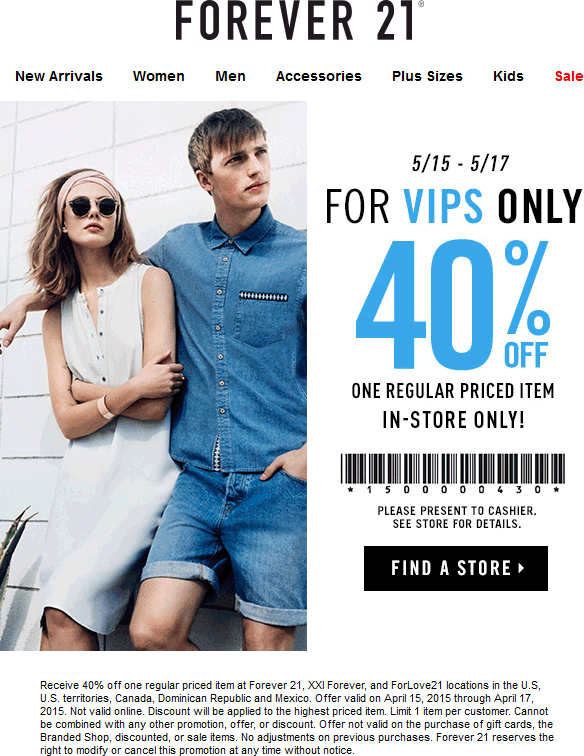 Forever 21 Coupon March 2017 40% off a single item at Forever 21, XXI Forever, and ForLove21