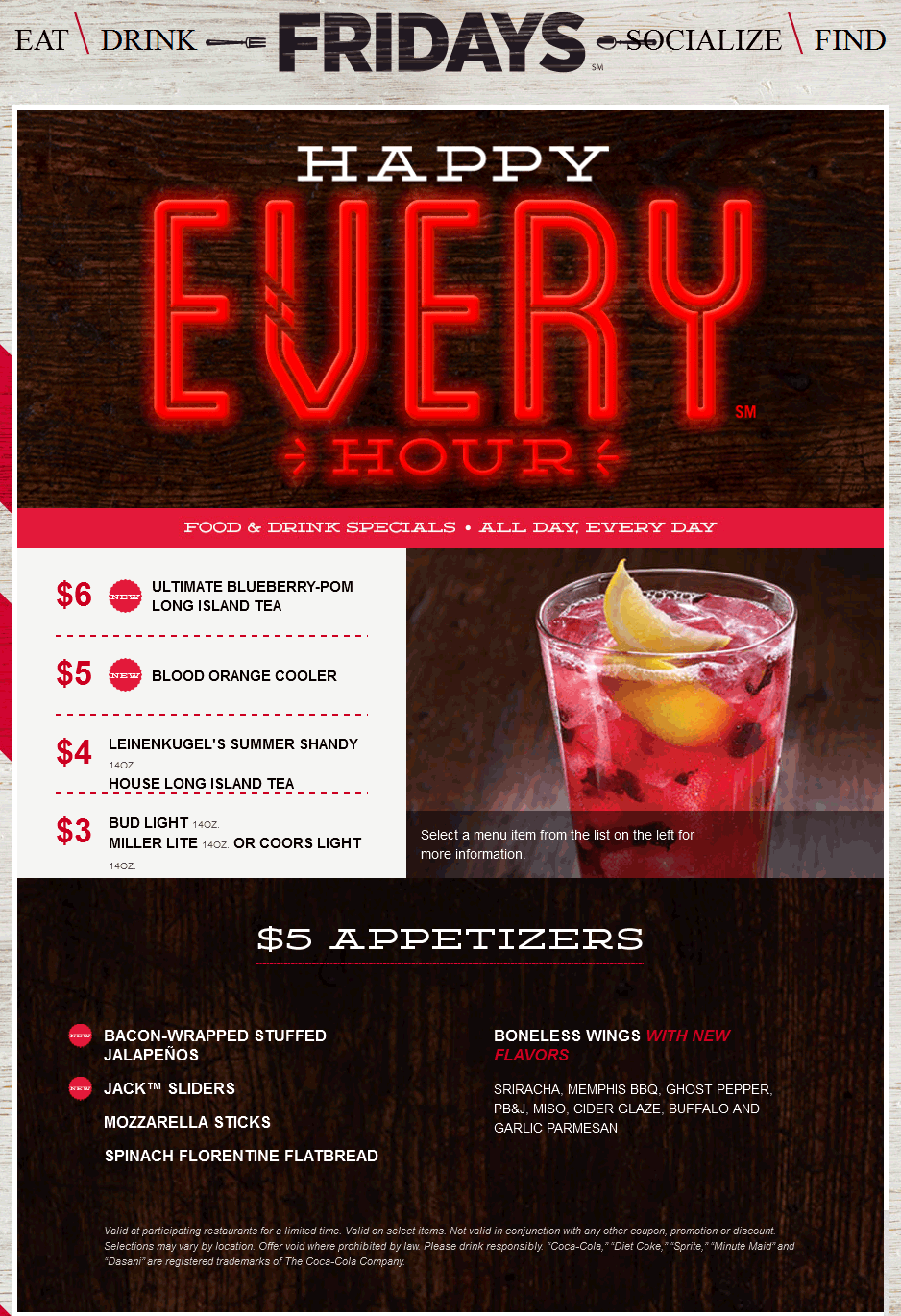 TGI Fridays Coupon December 2018 $5 appetizers & drink deals going on at TGI Fridays