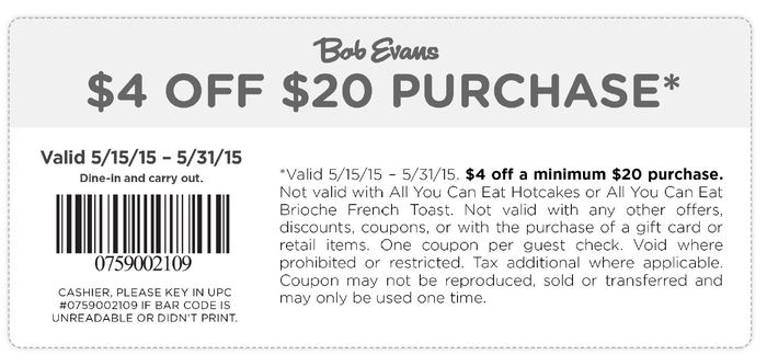 Bob Evans Coupon August 2017 $4 off $20 at Bob Evans