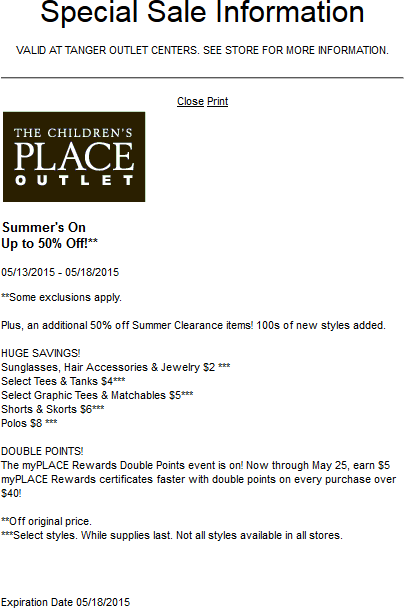Childrens Place Outlet Coupon January 2018 Extra 50% off summer clearance at The Childrens Place Outlet locations