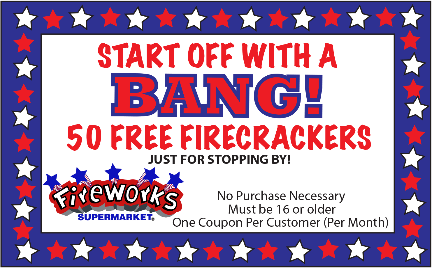 Fireworks Supermarket Coupon December 2017 50 firecrackers at Fireworks Supermarket,