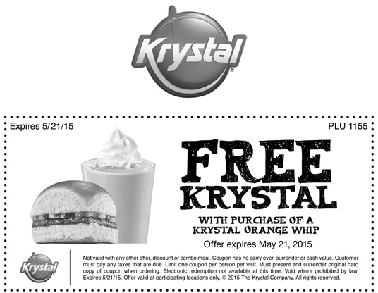 Krystal Coupon June 2018 Free burger with your orange whip at Krystal restaurants