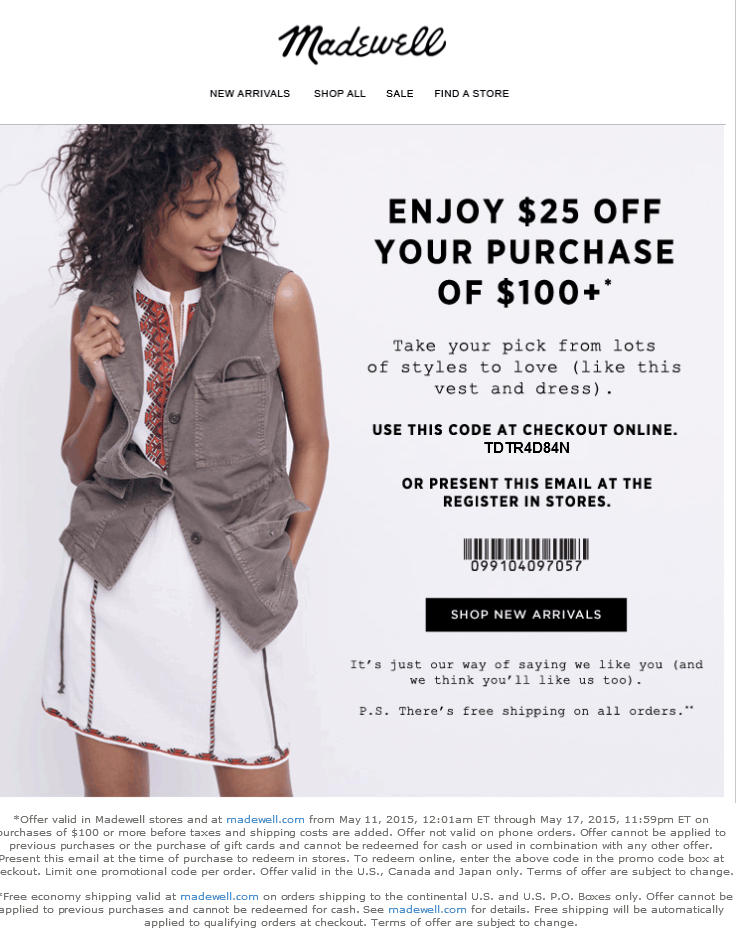 Madewell Coupon August 2017 $25 off $100 today at Madewell, or online via promo code TDTR4D84N