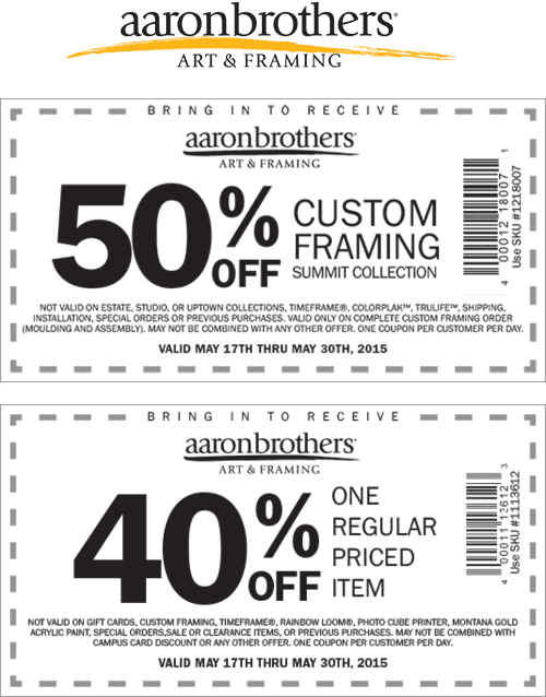 Aaron Brothers Coupon February 2019 40% off a single item & more at Aaron Brothers