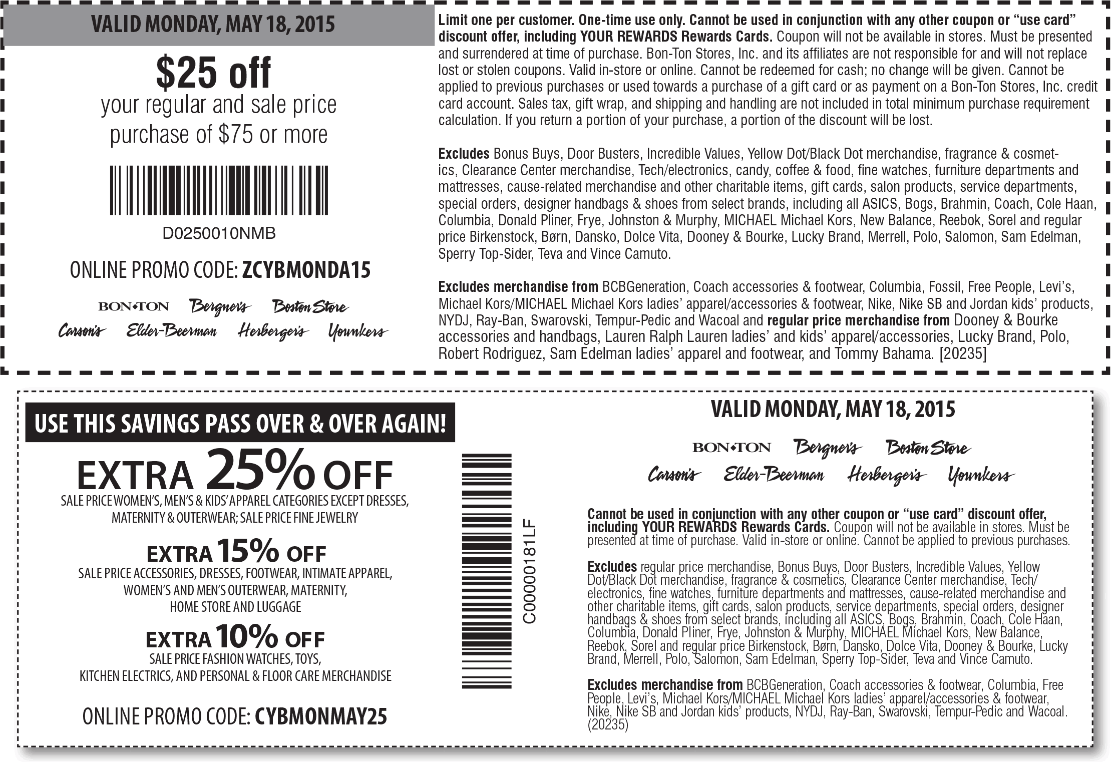 Bon Ton Coupon April 2017 $25 off $75 & more today at Carsons, Bon Ton & sister stores, or online via promo code  ZCYBMONDA15