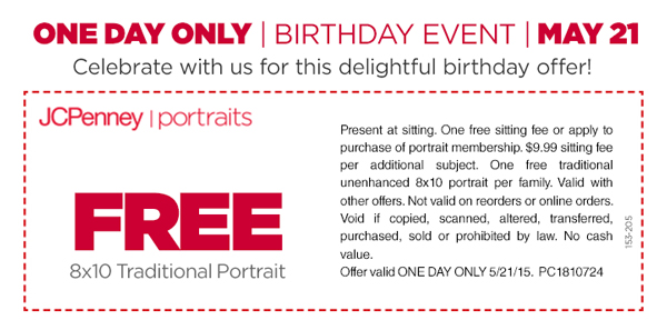 JCPenney Coupon July 2018 Free 8x10 portrait photo Thursday at JCPenney