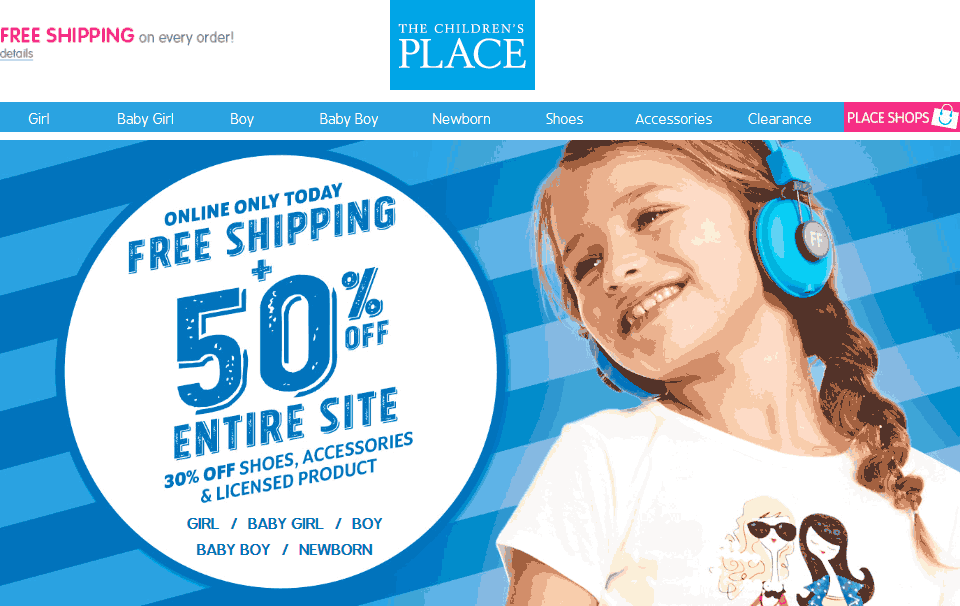 Childrens Place Coupon October 2017 50% off everything online today at The Childrens Place