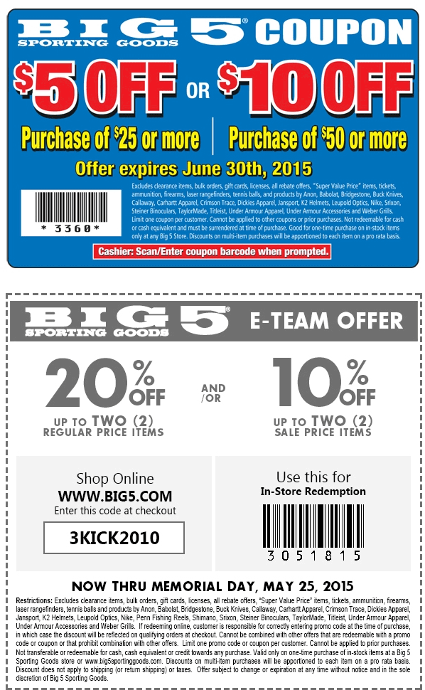 Big 5 Coupon January 2019 20% off a couple items & more at Big 5 sporting goods, or online via promo code 3KICK2010