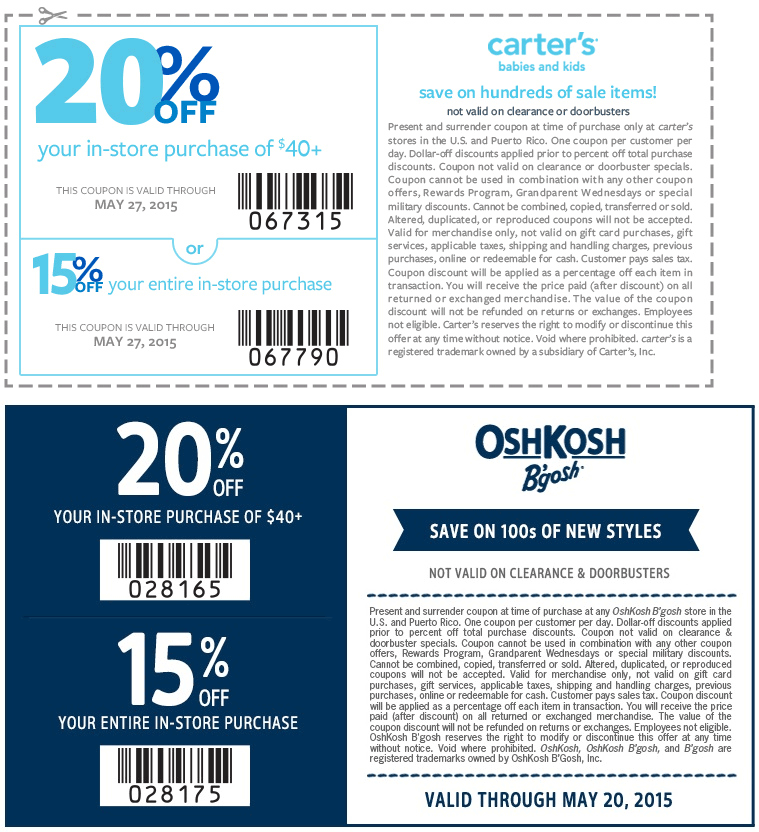 Carters Coupon November 2017 15-20% off at Carters & OshKosh Bgosh