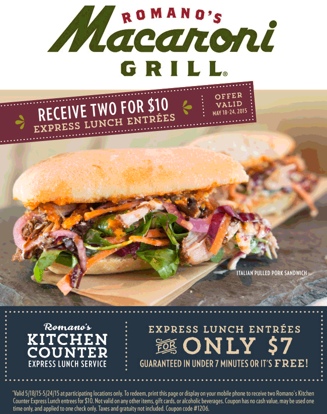Macaroni Grill Coupon May 2018 2 lunches for $10 in under 7 minutes or free at Macaroni Grill