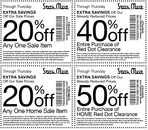Stein Mart Coupon June 2017 50% off clearance & more at Stein Mart, or online via promo code SHOPCLR