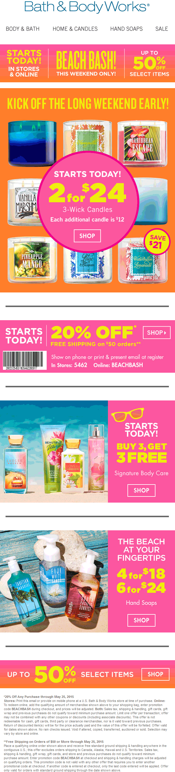 Bath & Body Works Coupon July 2017 20% off at Bath & Body Works, or online via promo code BEACHBASH
