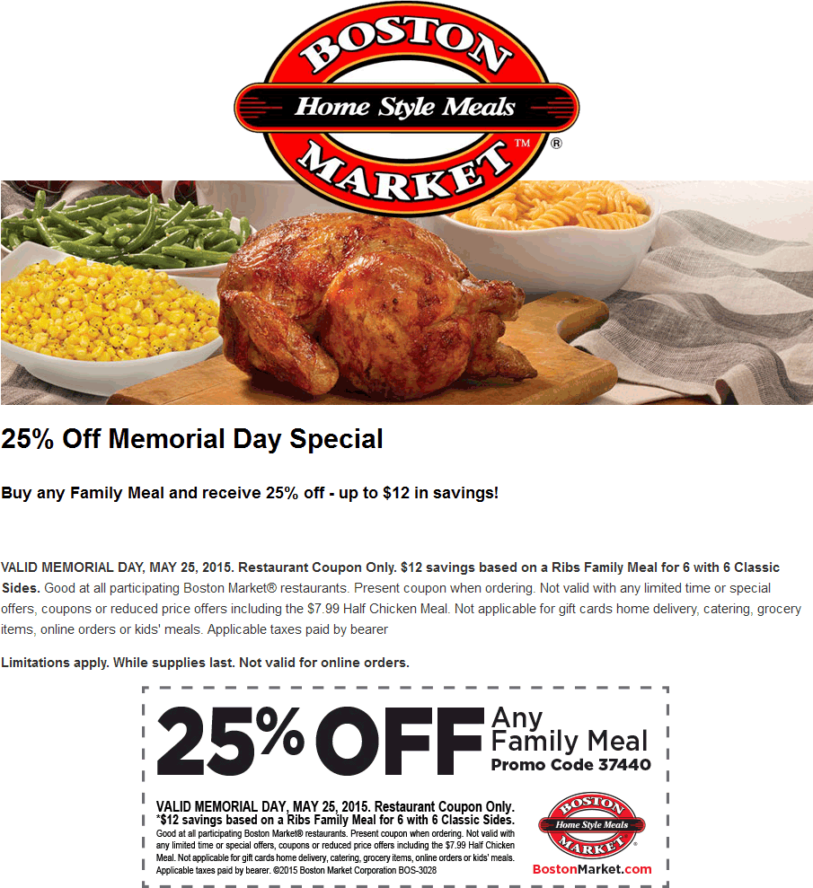 Boston Market Coupon March 2018 Family meals are 25% off Monday at Boston Market