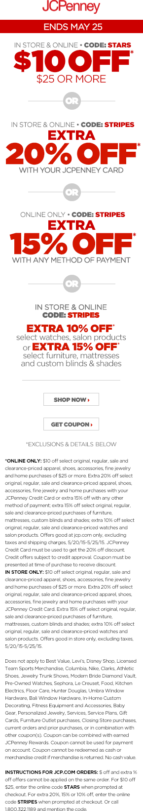 JCPenney Coupon January 2019 $10 off $25 at JCPenney, or online via promo code STARS
