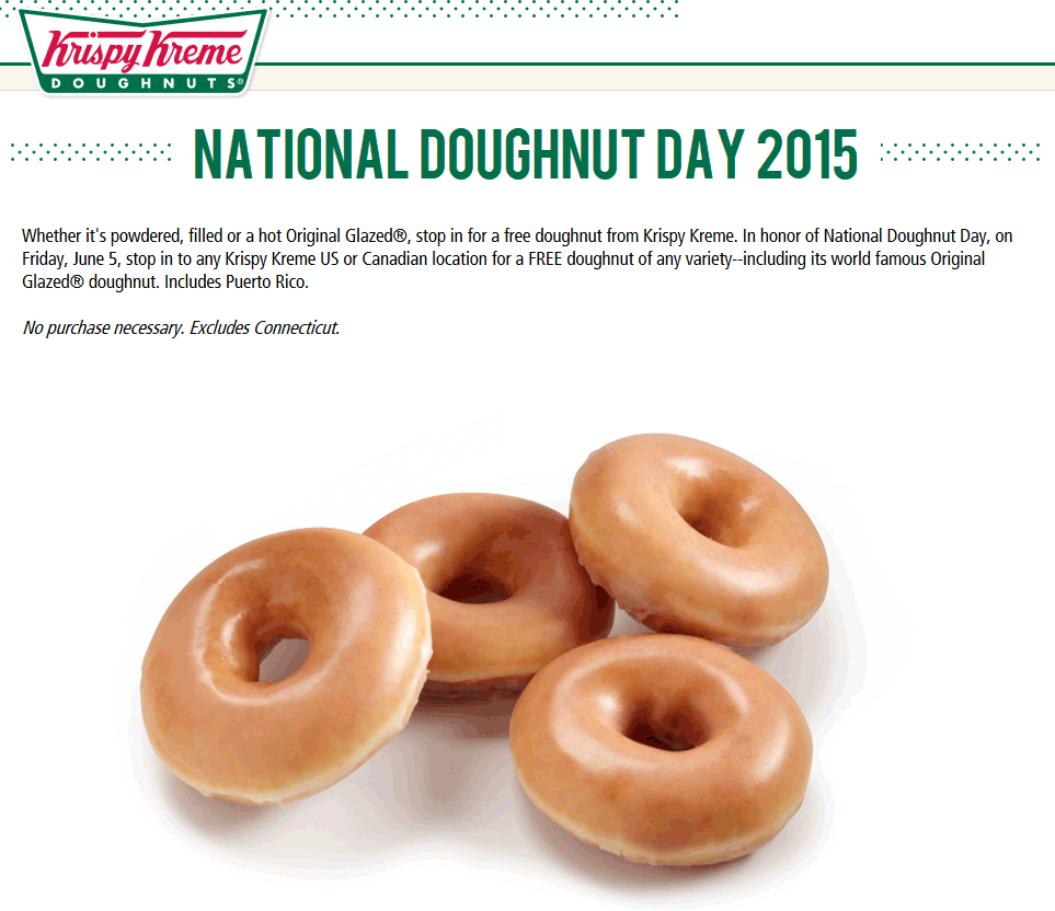 Krispy Kreme Coupon February 2019 Free doughnut the 5th at Krispy Kreme - no purchase necessary