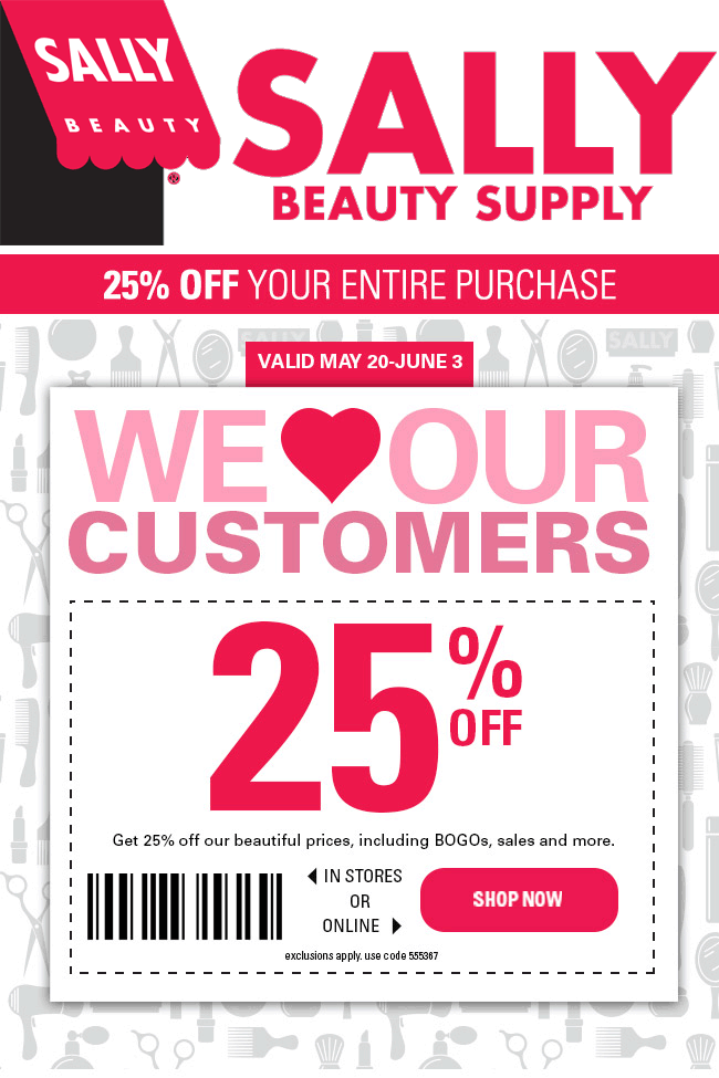 Sally Beauty Coupon May 2017 25% off at Sally Beauty Supply, or online via promo code 555367