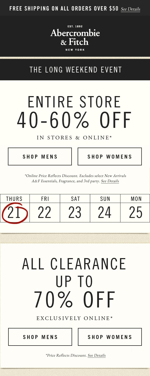 Abercrombie & Fitch Coupon February 2017 Extra 40-60% off everything at Abercrombie & Fitch, ditto online