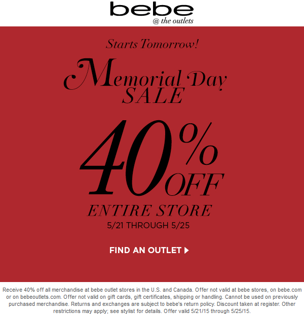 Bebe Outlet Coupon March 2018 Extra 40% off everything at bebe Outlet locations