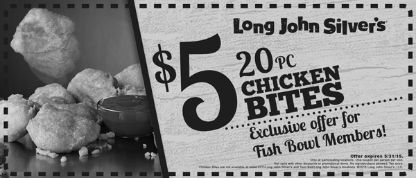 Long John Silvers Coupon March 2017 20pc chicken bites $5 at Long John Silvers