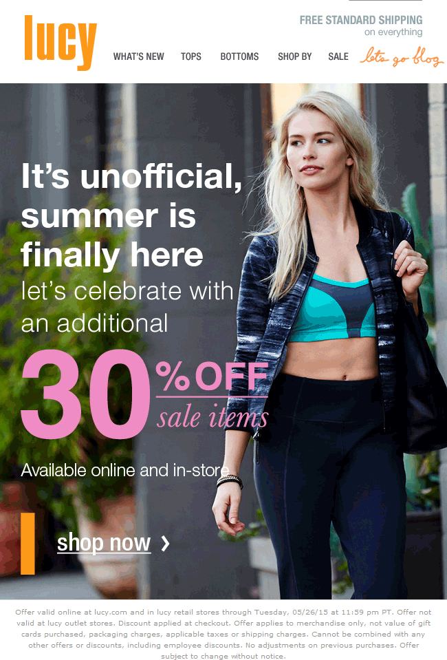 Lucy Coupon January 2017 Extra 30% off sale items at Lucy Activewear, ditto online