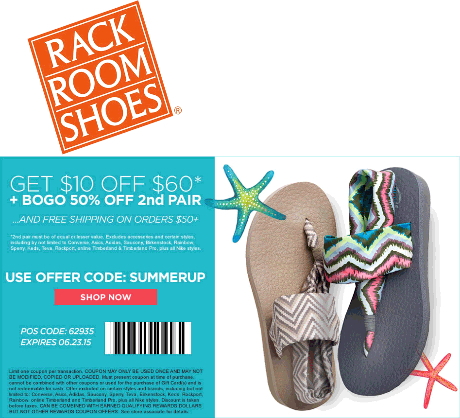 Rack Room Shoes Coupon September 2017 $10 off $60 + 2nd pair 50% off at Rack Room Shoes, or online via promo code SUMMERUP