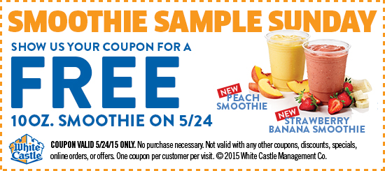 White Castle Coupon July 2018 Free smoothie Sunday at White Castle - no purchase necessary