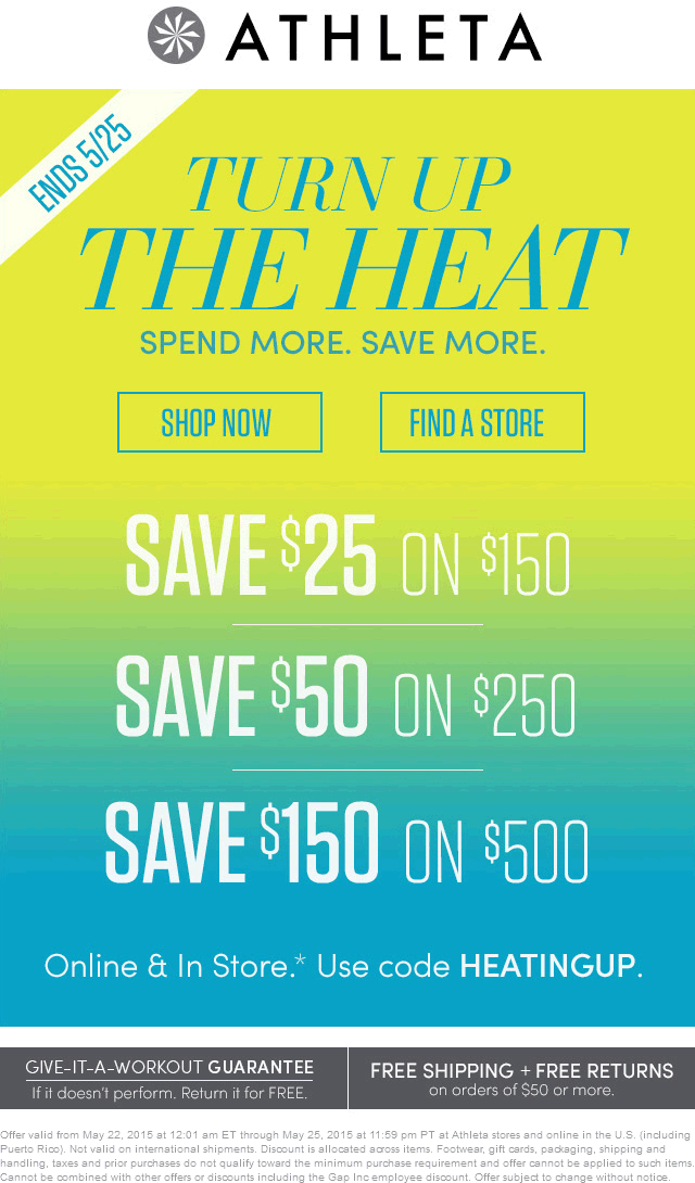Athleta Coupon February 2017 $25 off $150 & more at Athleta, or online via promo code HEATINGUP