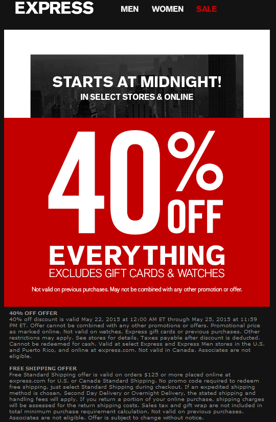 Express Coupon July 2018 40% off everything at Express, ditto online