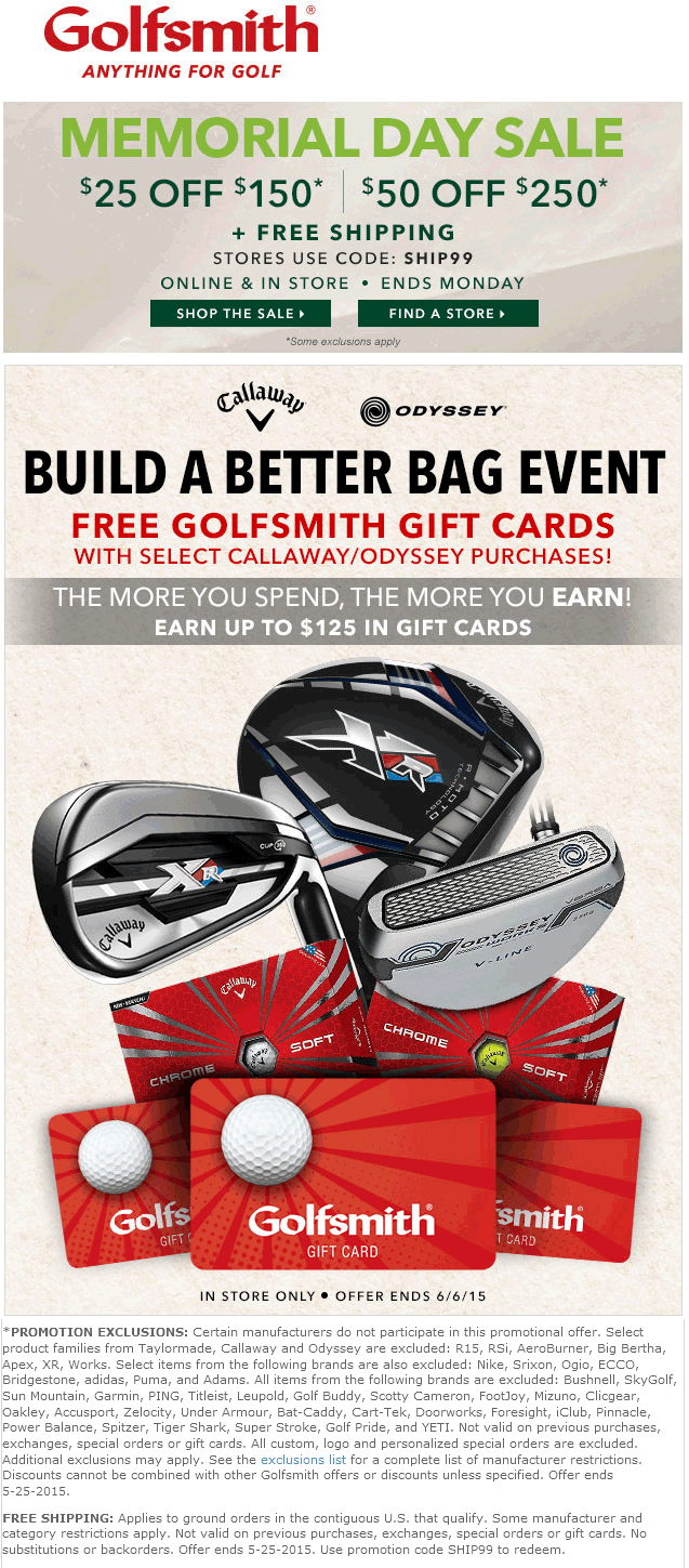 Golfsmith Coupon June 2017 $25 off $150 & more at Golfsmith, or online with free ship via promo code SHIP99
