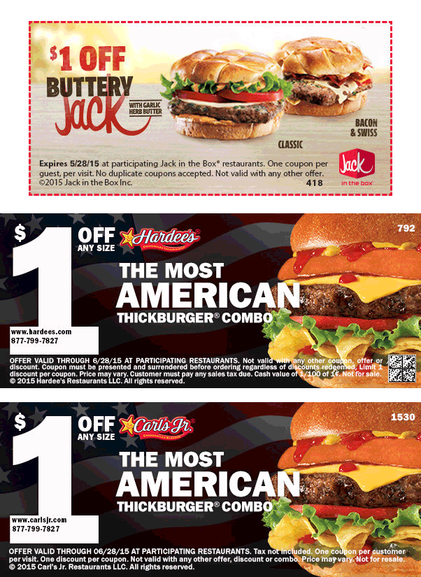 Jack in the Box Coupon July 2017 Shave a buck off a burger at Carls Jr., Hardees & Jack in the Box