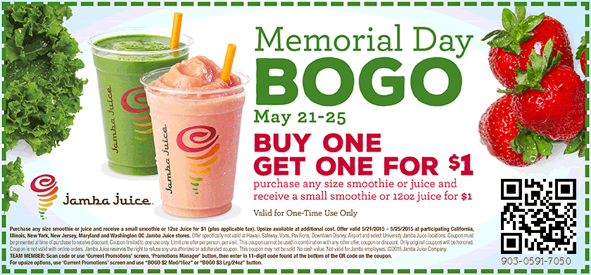 Jamba Juice Coupon June 2017 Second smoothie for a buck at Jamba Juice