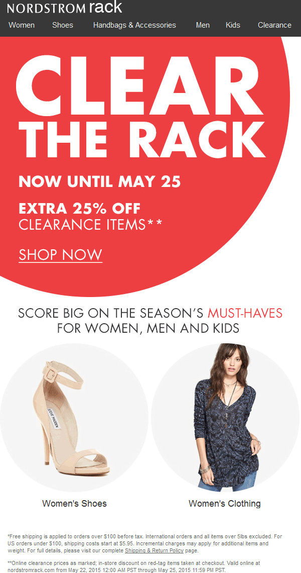 Nordstrom Rack Coupon May 2017 Extra 25% off clearance at Nordstrom Rack, ditto online