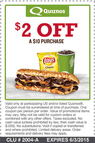 Quiznos Coupon June 2017 $2 off $10 at Quiznos