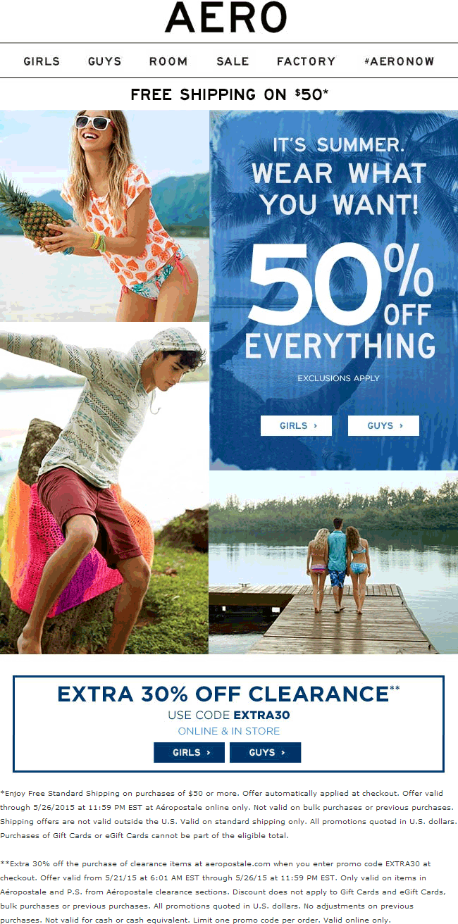 Aeropostale Coupon November 2017 50% off everything + 30% off clearance at Aeropostale, ditto online