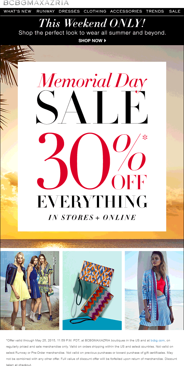 BCBG Coupon March 2019 30% off everything at BCBG, ditto online