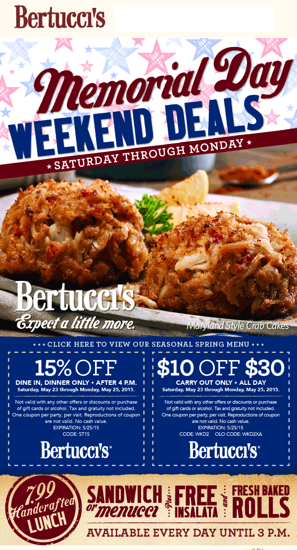 Bertuccis Coupon May 2017 15% off dinner & $10 off $30 on carryout at Bertuccis